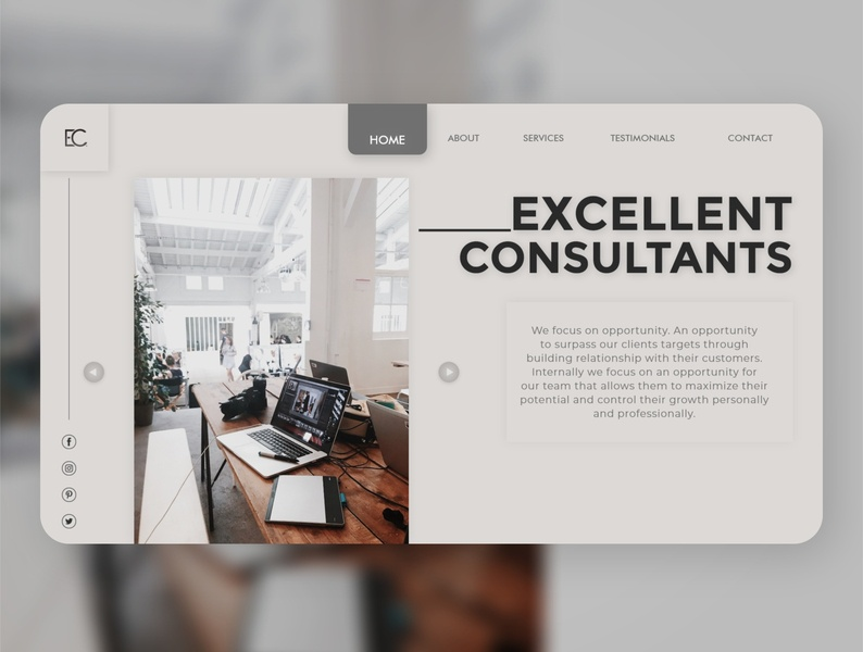Excellent Consultants Consulting Website Page landing page uiuxdesigner web uiconcept business concept graphic design typography digitaldesign minimal clean branding webdesign grey consultants adobexd uiux logo