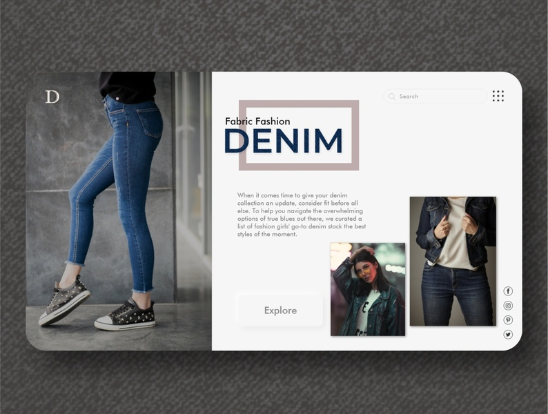 Denim, Fabric Fashion trendy e-commerce simple concept webdesign blue style girls design uiux adobexd typography branding minimal clean uiuxdesigner jackets jeans landingpage fashion