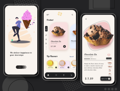 Ice Cream App Concept logo design graphic chocolate typeface website design web illustration art icecream xd illustration blue black adobe webdesign graphic design digitaldesign adobexd uiuxdesigner uiux clean