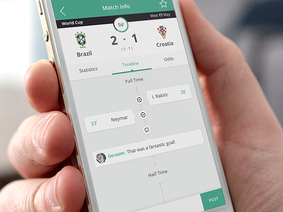 Betcrunch flat ui interface mobile ios iphone football sport app application timeline green