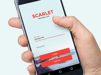 Scarlet Login ui user interface mobile android app material material design login sign in register kit template