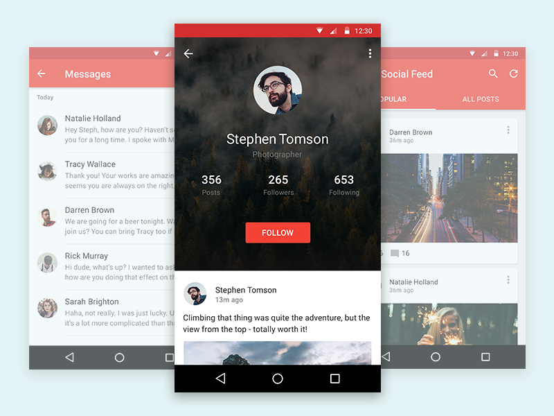 Scarlet - Material UI Kit template feed messages screen profile material design material app android mobile user interface ui