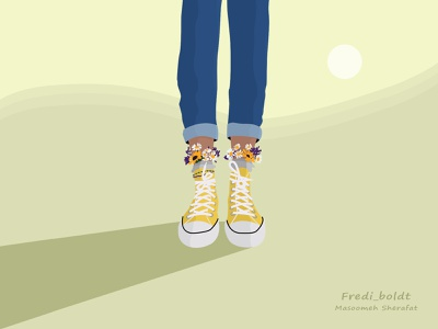 Fredi illustration sunflower illustration flower illustration shoes illustration flower sunflower allstarshoes shoe allstar vectorart paint girl girl illustration digital illustration digitalart digital painting illustration photoshop
