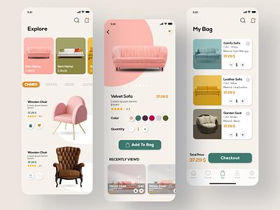 Furniture App UI Concept mobile app design mobile app mobile ui ui  ux ui