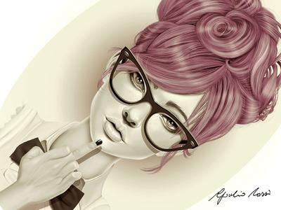 Fu*k You portrait character design digital painting photoshop hair eyewear finger attitude pink