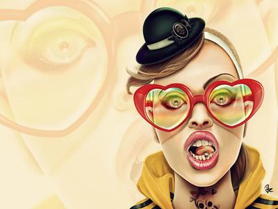 Wow digital painting portrait eyewear piercing yellow sweater girl female style