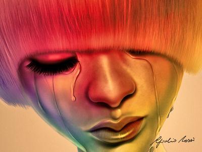 The Gold Bug portrait character design digital painting photoshop hair rainbow tears pink