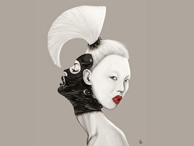 Fu*k Fears digital painting portrait latex white hair girl female style