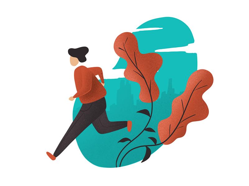 Run concept flat illustration webillustration