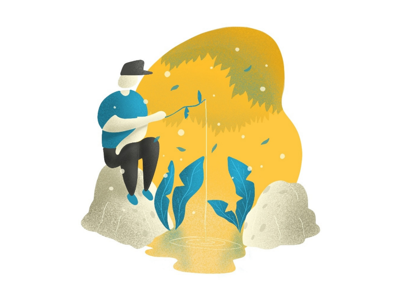 Fishing flatdesign webstyle illustration fishing