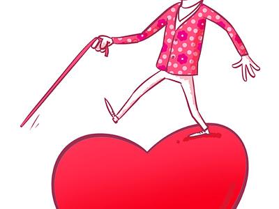 Love is blind love blindness stick glasses pink flower rose heart valentine