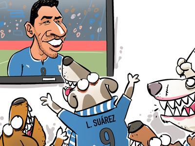 Suarez fans suarez football soccer bite uruguay tv television flag dog dogs world cup