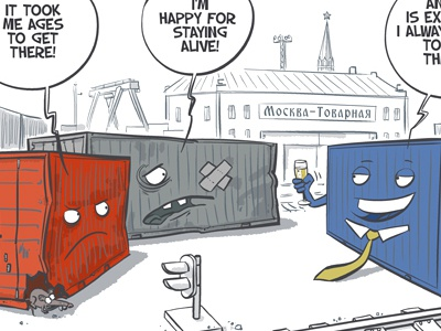 Cartoon for Freeport of Riga advertisement port cargo container champagne moscow riga train rail rat station