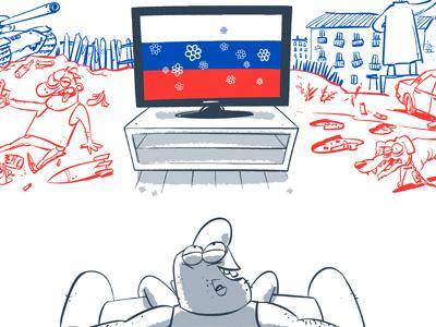 Russian TV russia tv flag monument propaganda sofa tank flowers bottle alcohol dog car