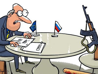 Talking to Russia russia gun table talking speaking flag europe union stick document war peace