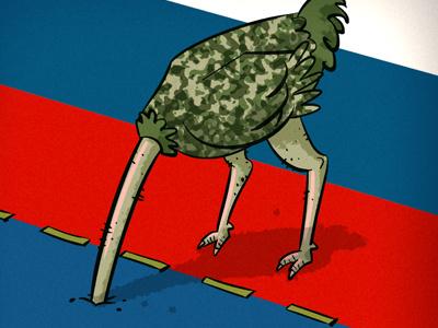 Russian ostrich russia politics ostrich flag ukraine war hiding border countries putin