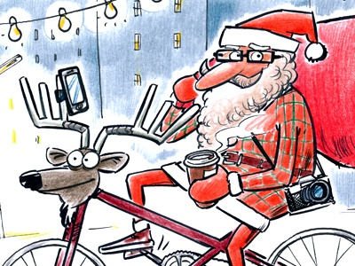 Santa 2014 santa claus 2014 hipster reindeer photo snow winter christmas coffee