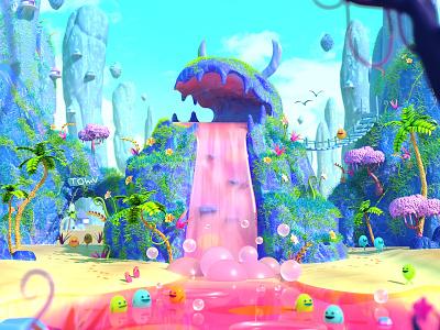 Waterfall cute landscape character octane c4d 3d cinema4d