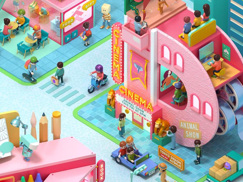 Tokyo Design Academy School Guide town city isometric toy octane c4d 3d cinema4d