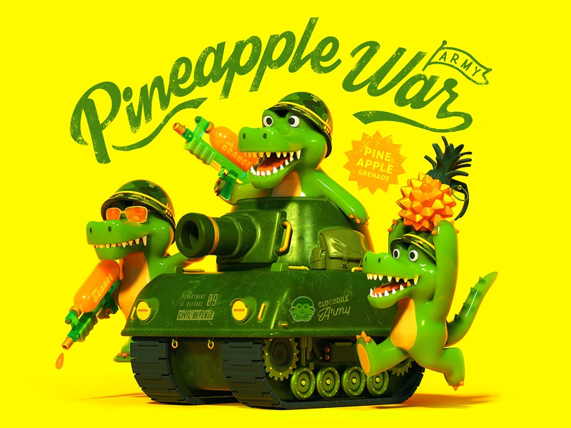 Pineapple War crocodile military tank character octane c4d 3d cinema4d