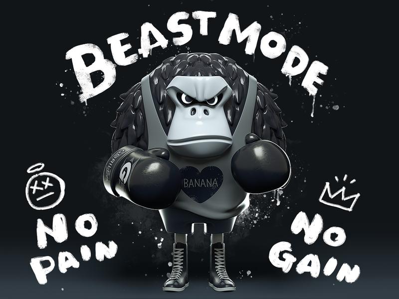 Beast mode boxing gorilla character octane c4d 3d cinema4d