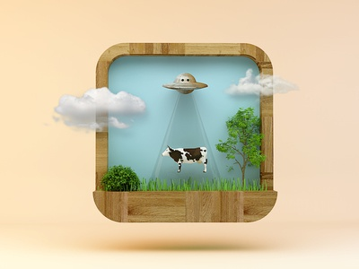 UFO catches a cow game App icon