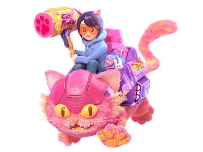 Cat's Revenge render colorful japan cat character octane c4d 3d cinema4d