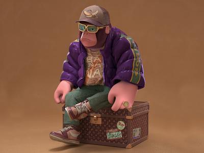 Mr. Hi-Fashion fashion gorilla character octane c4d 3d cinema4d