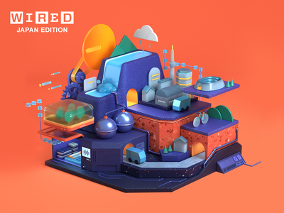 WIRED Japan edition vol.41 infographic isometric low poly town city illustration design cg toy octane c4d 3d cinema4d