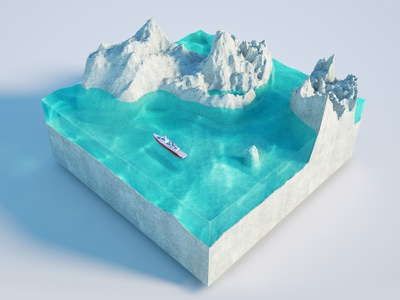 Iceberg (inspired) north pole low poly miniature island isometric iceberg octane 3d c4d cinema4d