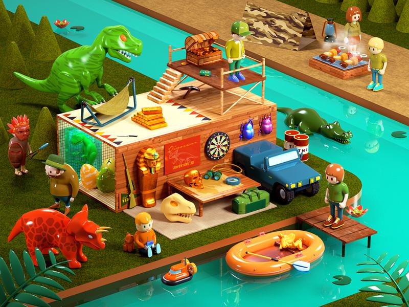 Dinosaur Adventure 3D jungle dinosaur camp character toy miniature cg octane 3d cinema4d c4d