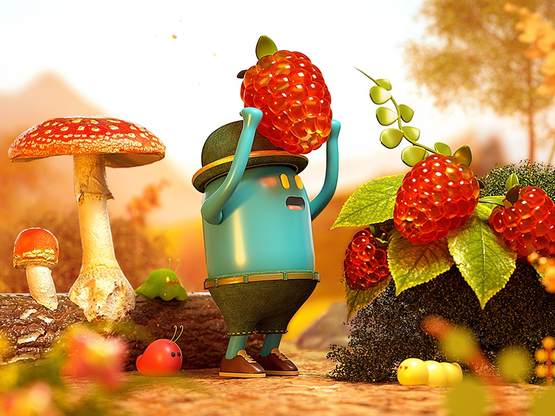 Harvest forest fruit character octane cinema4d