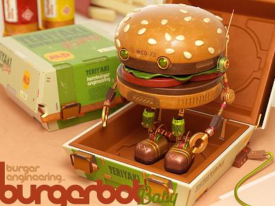 BurgerBot Baby mcdonalds fast food burger render illustration design character octane c4d 3d cinema4d