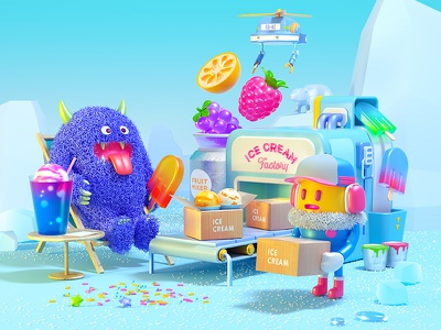 Ice Cream Island fruit icecream factory illustration 3d cinema4d