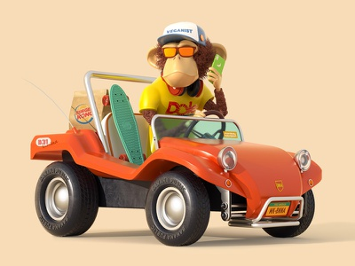 Monkey&Buggy car vehicle monkey character 3d cinema4d