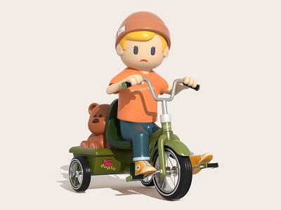 Trike Patrol vehicle trike kids illustration render character c4d 3d cinema4d