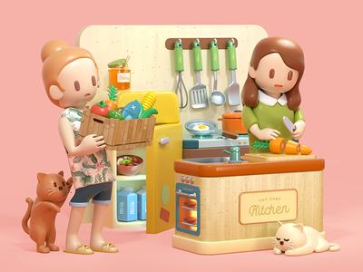Toy Kitchen cat kitchen illustration isometric character toy c4d 3d cinema4d