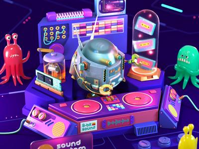 Robot Sound System music audio robot c4d 3d cinema4d