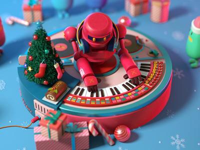 DJ Robot Xmas ver. christmas xmas robot character octane c4d 3d cinema4d