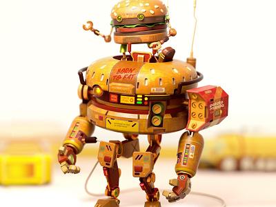 BurgerBot Mk-3 burger robot octane c4d 3d cinema4d