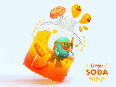 Orange Soda Dive oranges octanerender octane render summer diving orange soda soda orange render cg character octane c4d 3d cinema4d