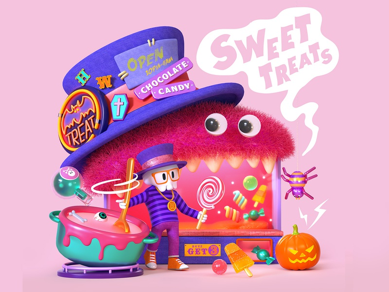 Monster Sweets Boutique isometric illustration pink sweets halloween character octane c4d 3d cinema4d
