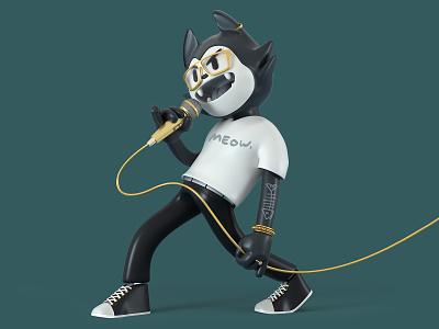Black Cat World Tour rock cat toy character octane c4d 3d cinema4d