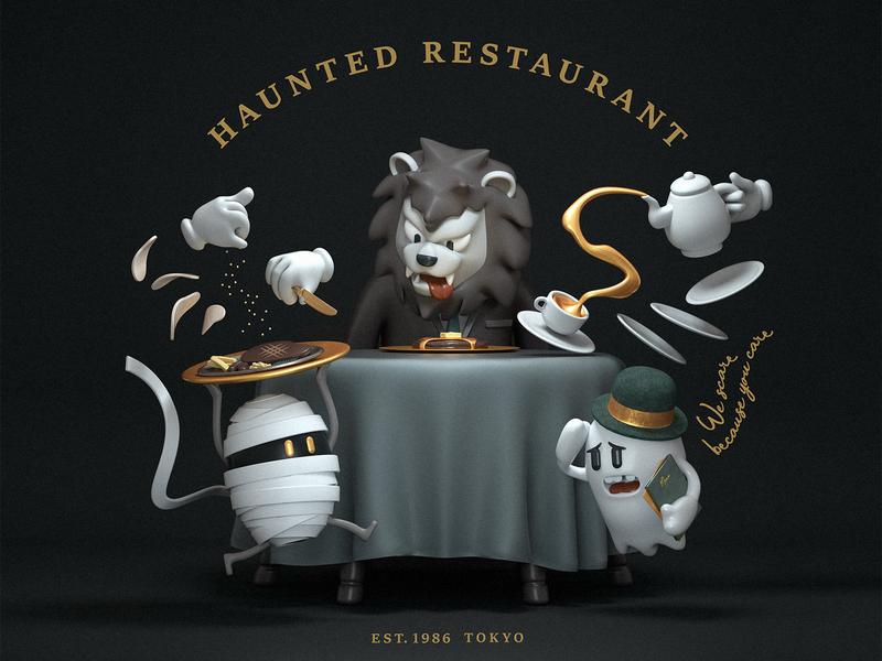Haunted Restaurant ghost dinner restaurant illustration cg toy character octane c4d 3d cinema4d