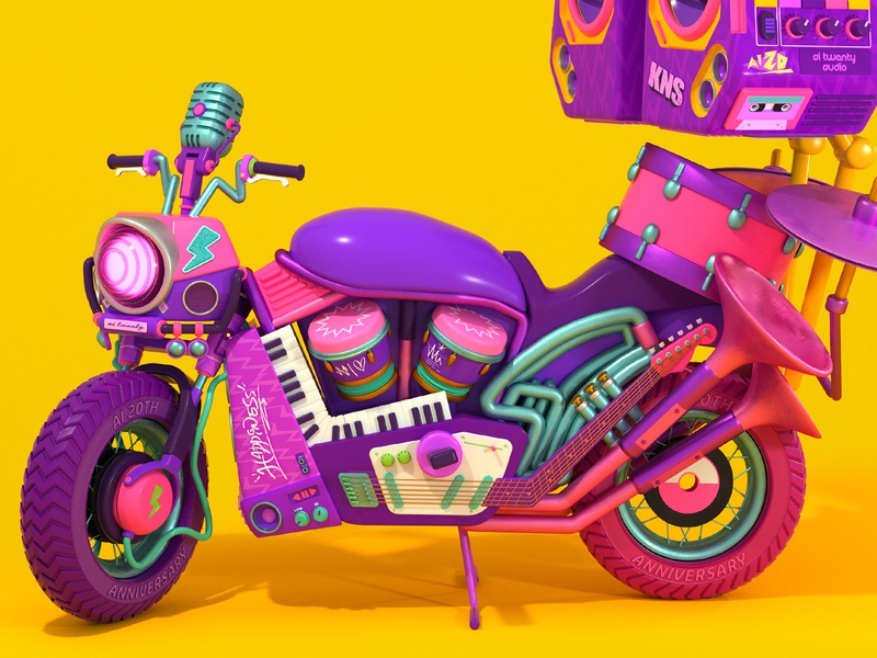 AI 20TH Anniversary Album / Details illustration design music vehicles octane c4d 3d cinema4d