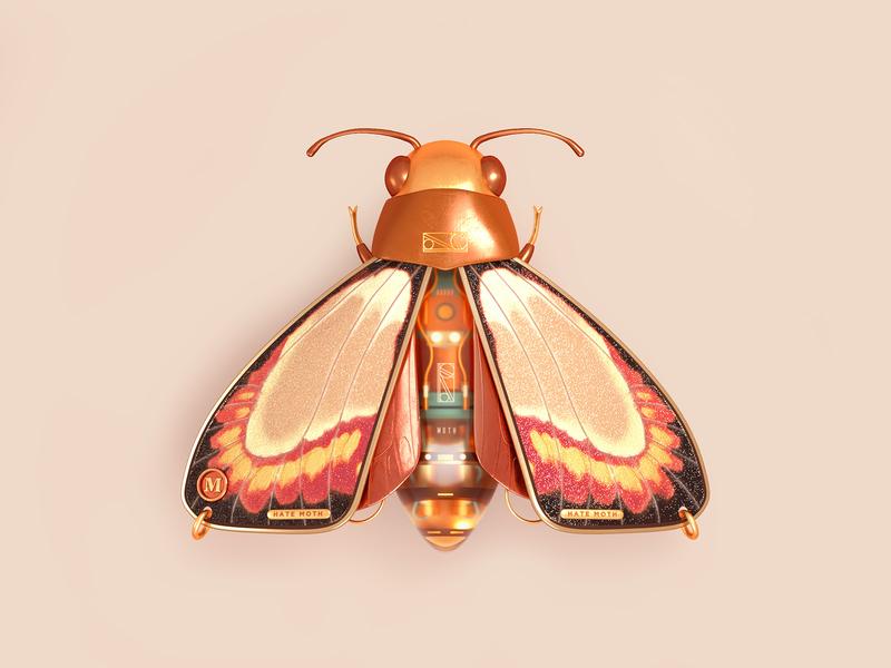 MOTH moth accessories fashion insect octane c4d 3d cinema4d