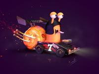 Snail Turbo Nascar 3d art character render characterdesign photoshop modeling c4d
