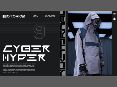Cyber Hyper Vol. 1 fashion design fashion brand techwear uiux uidesign dark ui streetwear logo cyberpunk scifi webdesign website illustrator