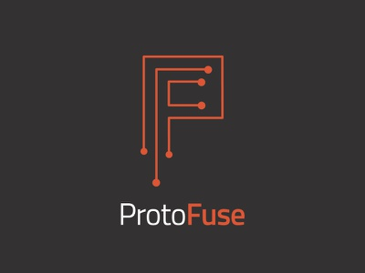 Protofuse Logo agency science electric fuse white gray red logo