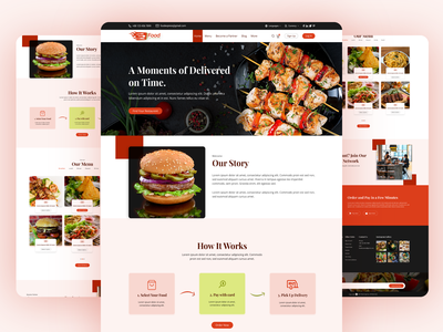 Online Food Delivery website design landing page design landing page web template online food delivery online food order website design ui  ux web ui web restaurant food